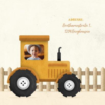 Einladung Kindergeburtstag mit Foto im Traktor 2