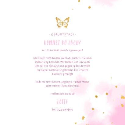 Einladung Kindergeburtstag mit goldenem Schmetterling 3