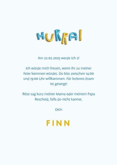 Einladung Kindergeburtstag mit HURRA Luftballonschrift Junge 3