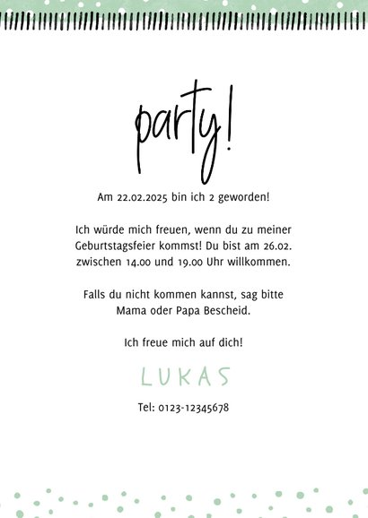 Einladung Kindergeburtstag 'Party!' mit eigenem Foto 3