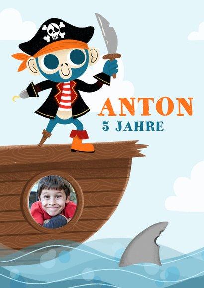Einladung Kindergeburtstag Pirat mit Foto 2