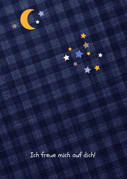 Einladung Kindergeburtstag Pyjamaparty Teddy, Mond & Sterne 2