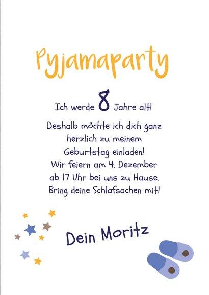 Einladung Kindergeburtstag Pyjamaparty Teddy, Mond & Sterne 3