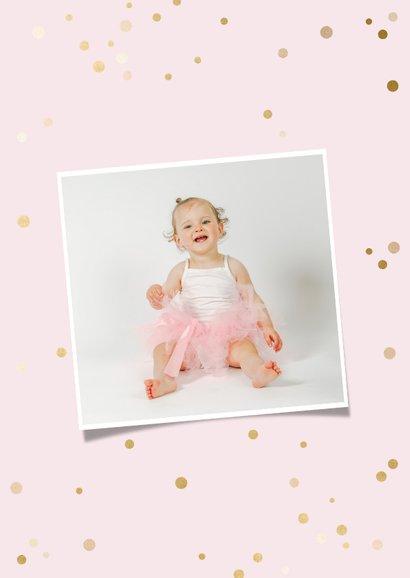 Einladung Kindergeburtstag rosa 12 Monate Fotocollage 2