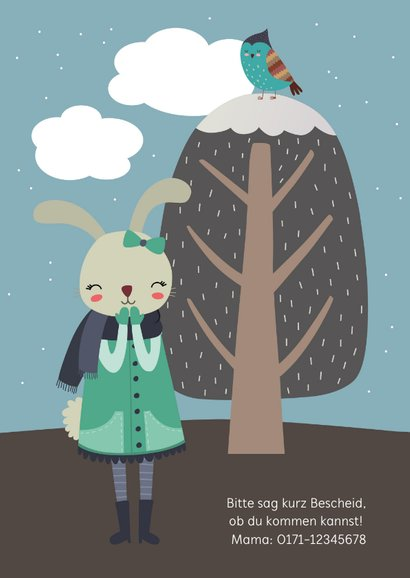 Einladung Kindergeburtstag Winterhase 2