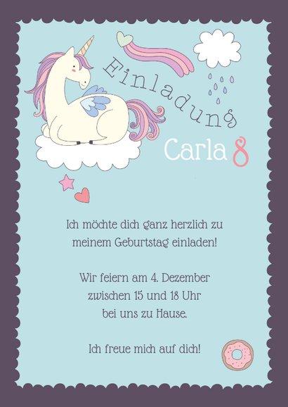Einladung Kindergeburtstag Wolkenprinzessin mit Einhorn 3