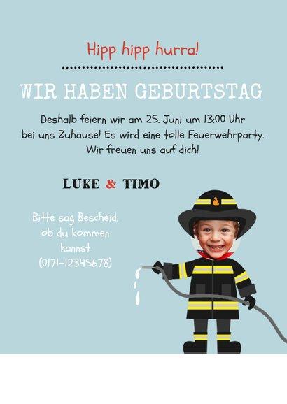 Einladung Kindergeburtstag Zwilling Feuerwehr 3