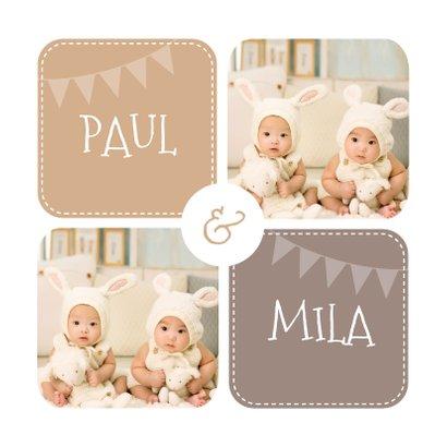 Einladung Kindergeburtstag Zwillinge braun mit Fotos 2