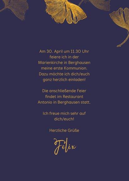 Einladung Kommunion Ginkgoblätter Stempel blau Foto innen 3