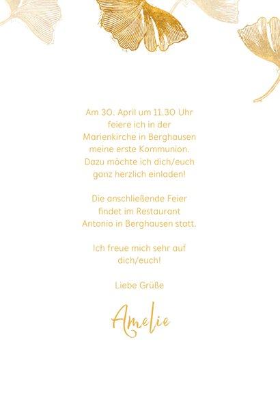 Einladung Kommunion Ginkgoblätter Stempel weiß Foto innen 3