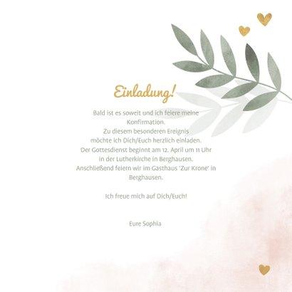 Einladung Konfirmation botanisch mit Herzen und Foto 3