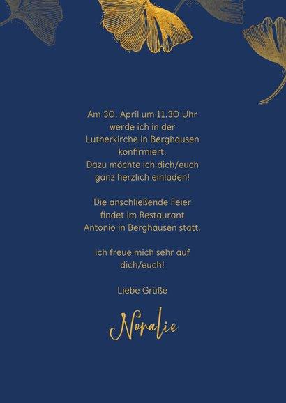 Einladung Konfirmation Ginkgoblätter Stempel Foto innen 3