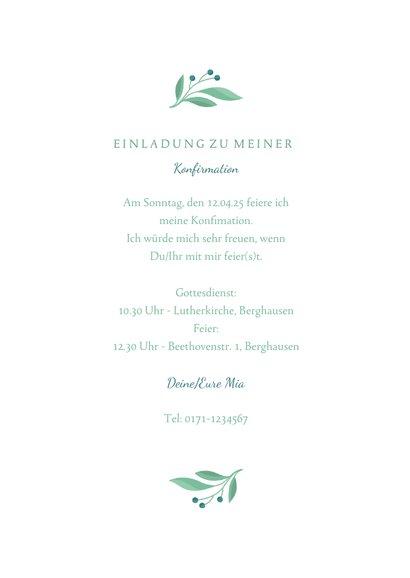 Einladung Konfirmation Taube botanisch & Foto 3