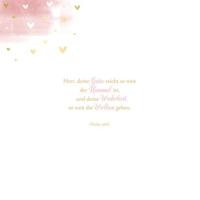 Einladung Konfirmation Wasserfarbe, Taube und Herzen 2