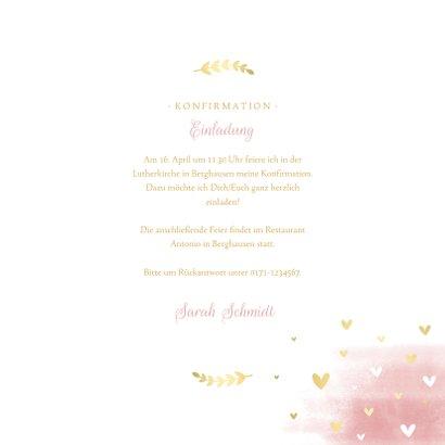 Einladung Konfirmation Wasserfarbe, Taube und Herzen 3