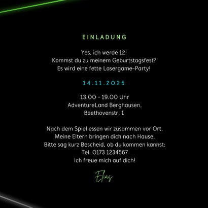 Einladung Laserparty Laserstrahlen grün 3