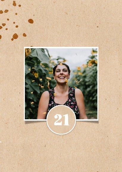Einladung 'let's party' zum 21. Geburtstag in braun mit Foto 2