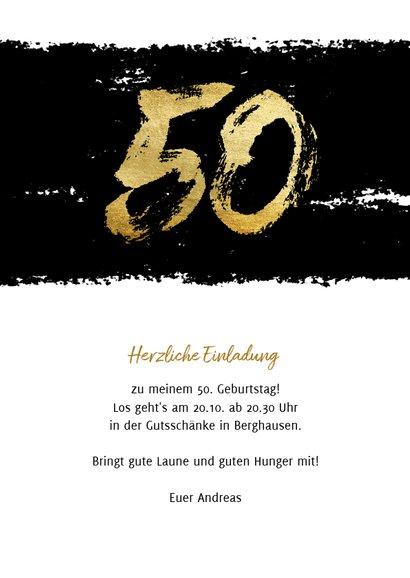 Einladung mit goldener 50 auf Schwarz 3