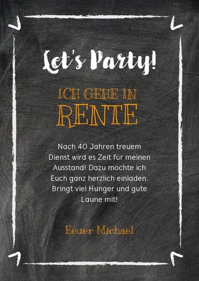 Einladung Rente-Party auf Kreide 3