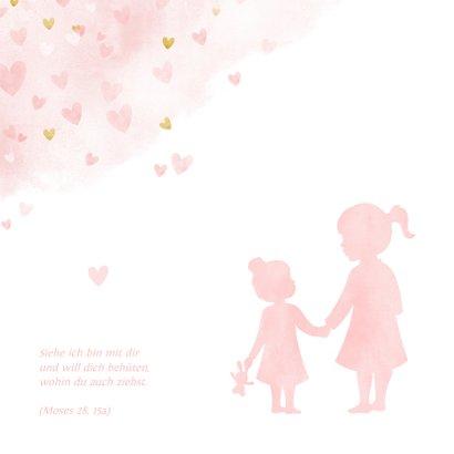 Einladung Taufe kleine & große Schwester rosa 2