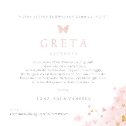 Einladung Taufe kleine & große Schwester rosa 3