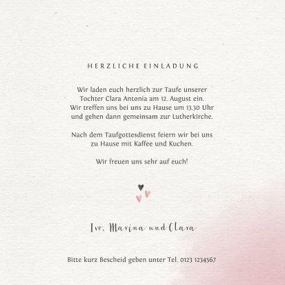 Einladung Taufe rosa Blumenrahmen Foto 3
