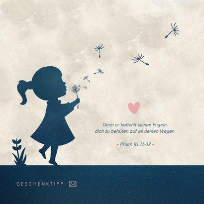 Einladung Taufe Scherenschnitt Mädchen & Mond 2