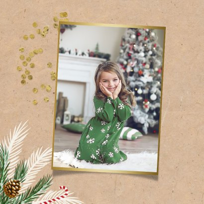 Einladung Weihnachtsfeier mit Tannenzweigen, Konfetti & Foto 2