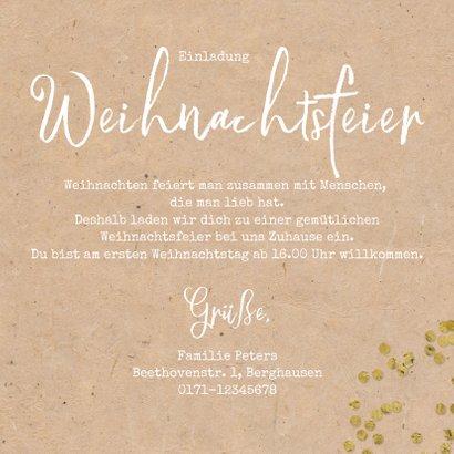 Einladung Weihnachtsfeier mit Tannenzweigen, Konfetti & Foto 3