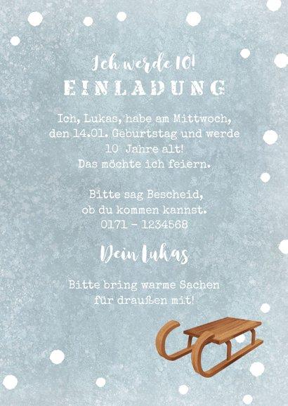 Einladung Winter-Kindergeburtstag Schlitten 3