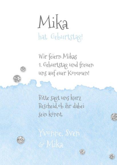 Einladung zum 1. Geburtstag blau Silberballon und Foto  3