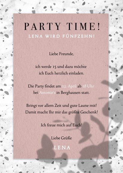 Einladung zum 15. Geburtstag im Terrazzo Look 3