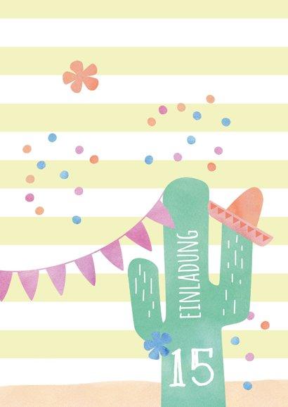 Einladung zum 15. Geburtstag mit Kaktus 2