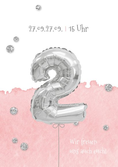 Einladung zum 2. Geburtstag mit Foto und Silberballon 2