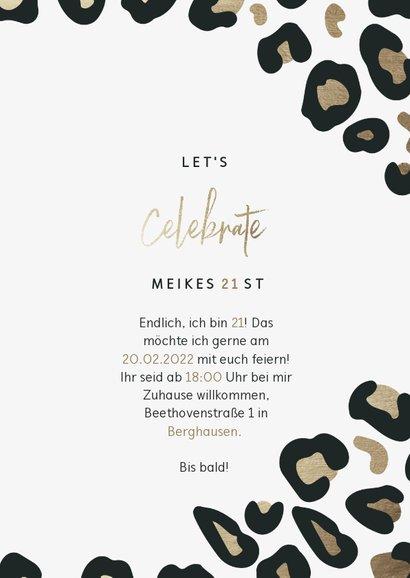 Einladung zum 21. Geburtstag Leopardenmuster 3