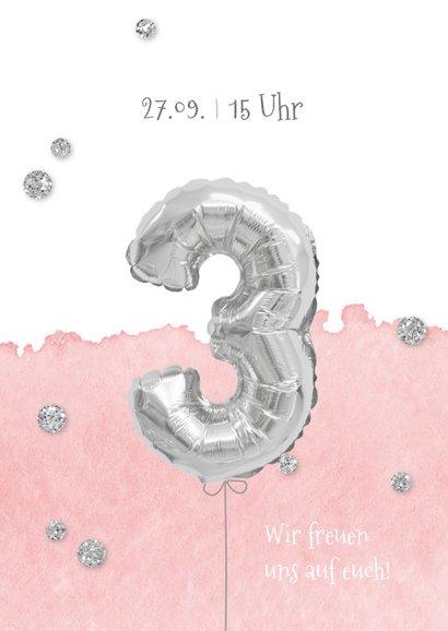 Einladung zum 3. Geburtstag mit Foto und Silberballon 2