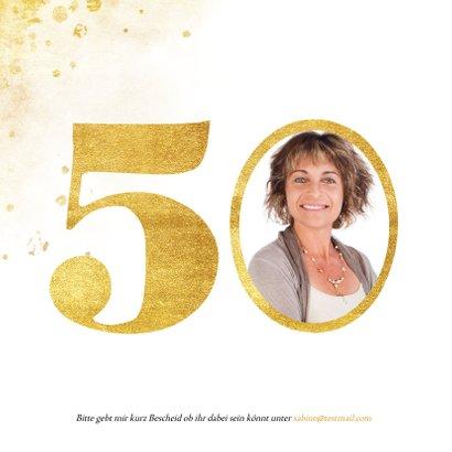 Einladung zum 50. Geburtstag mit großer goldener 50 2