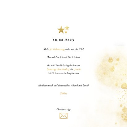 Einladung zum 50. Geburtstag mit großer goldener 50 3