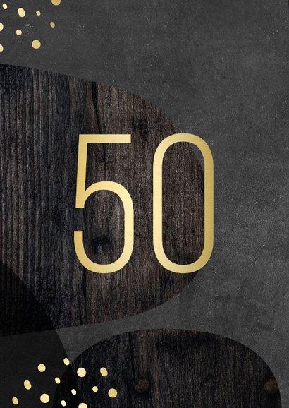 Einladung zum 50. Geburtstag schwarz gold mit Foto 2