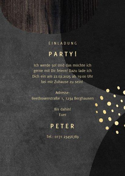 Einladung zum 50. Geburtstag schwarz gold mit Foto 3