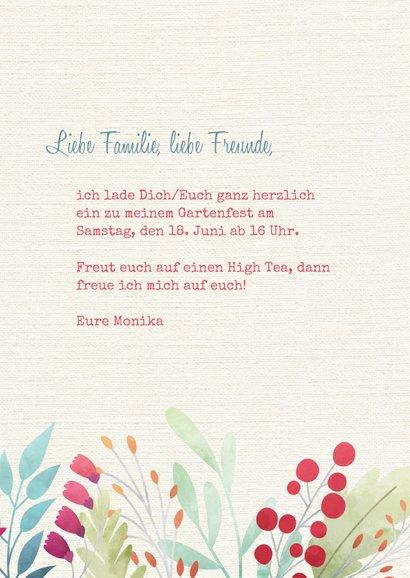Einladung zum Gartenfest Blumen auf Leinenstruktur 3