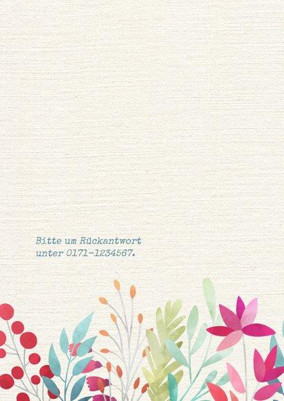 Einladung zum Geburtstag Blumen auf Leinenstruktur 2