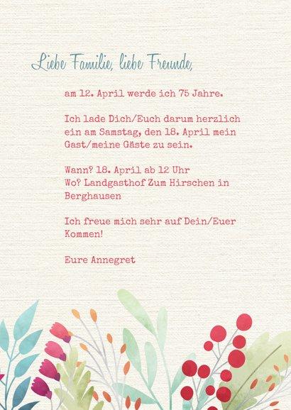 Einladung zum Geburtstag Blumen auf Leinenstruktur 3