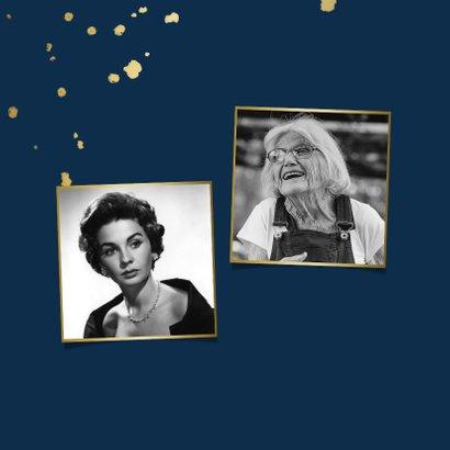 Einladung zum Geburtstag dunkelblau mit Fotos 2