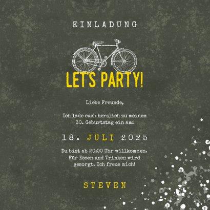 Einladung zum Geburtstag Let's Party mit Fahrrad 3