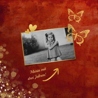 Einladung zum Geburtstag mit Foto und Schmetterlingen 2
