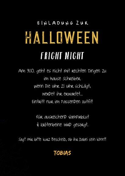 Einladung zum Halloween-Fest Totenkopf mit Hut 3