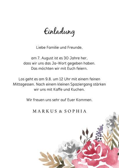 Einladung zum Hochzeitsjubiläum 2 Rosen 3