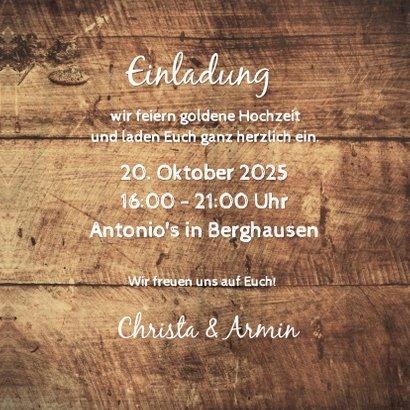 Einladung zum Hochzeitsjubiläum Fotocollage auf Holz 3
