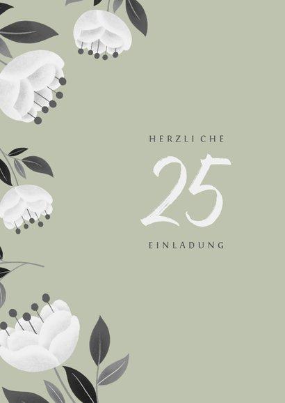 Einladung zum Hochzeitsjubiläum grün mit weißen Blumen 2